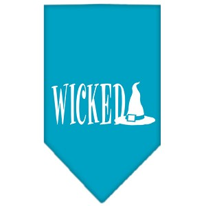 Wicked Screen Print Bandana Turquoise Small