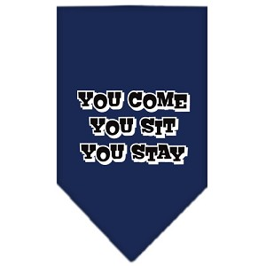 You Come, You Sit, You Stay Screen Print Bandana Navy Blue Small