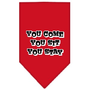 You Come, You Sit, You Stay Screen Print Bandana Red Large