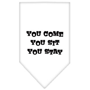 You Come, You Sit, You Stay Screen Print Bandana White Large