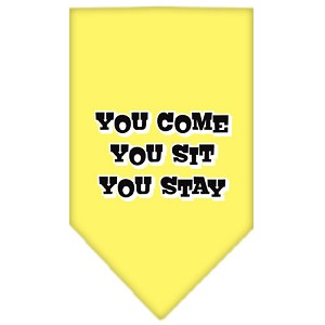 You Come, You Sit, You Stay Screen Print Bandana Yellow Large