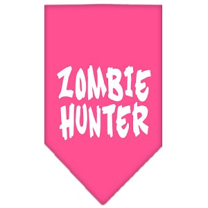 Zombie Hunter Screen Print Bandana Bright Pink Large