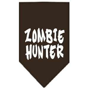 Zombie Hunter Screen Print Bandana Cocoa Small