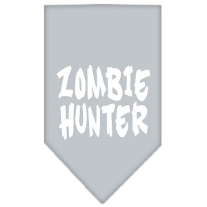 Zombie Hunter Screen Print Bandana Grey Small