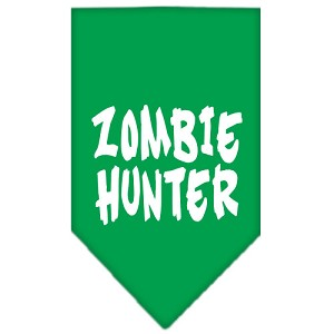 Zombie Hunter Screen Print Bandana Emerald Green Small
