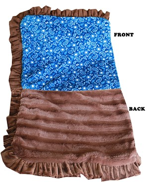 Luxurious Plush Pet Blanket Blue Western 1/2 Size