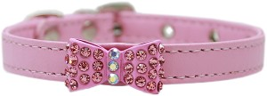 Bow-dacious Crystal Dog Collar Light Pink Size 10