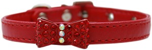 Bow-dacious Crystal Dog Collar Red Size 12