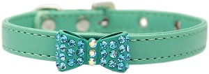 Bow-dacious Crystal Dog Collar Aqua Size 10