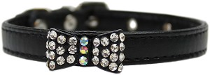 Bow-dacious Crystal Dog Collar Black Size 12