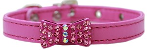 Bow-dacious Crystal Dog Collar Bright Pink Size 12