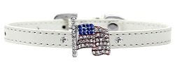 Flag Charm Dog Collar White size 10