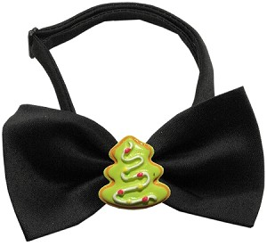 Christmas Tree Chipper Black Pet Bow Tie