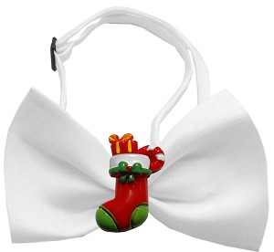 Stocking Chipper White Pet Bow Tie