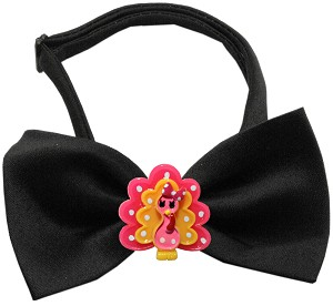Pink Turkey Chipper Black Bow Tie