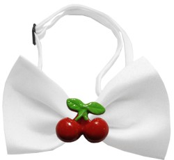 Red Cherry Chipper White Bow Tie