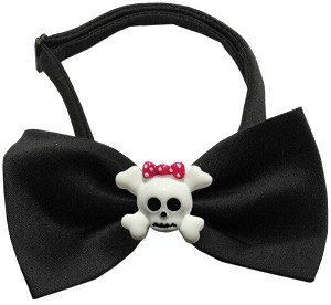 Girly Skull Chipper Black Bow Tie