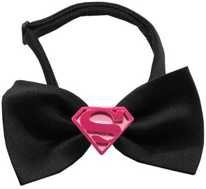Pink Super Chipper Black Bow Tie