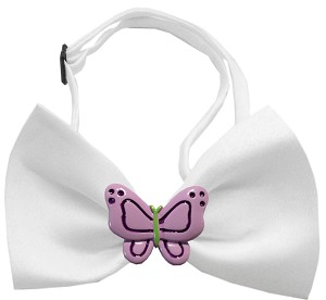 Purple Butterflies Chipper White Bow Tie