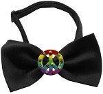 Rainbow Peace Sign Chipper Black Bow Tie