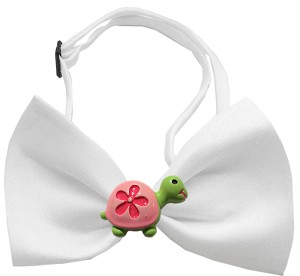 Turtle Chipper White Bow Tie