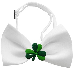 Shamrock Chipper White Bow Tie