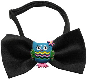 Blue Owls Chipper Black Bow Tie