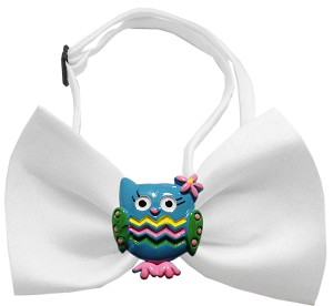 Blue Owls Chipper White Bow Tie