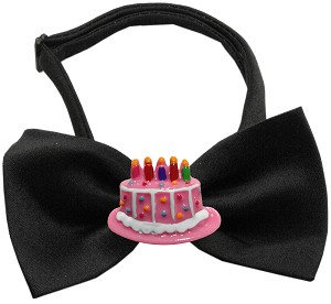 Pink Birthday Cake Chipper Black Bow Tie