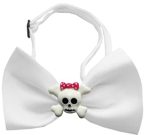 Girly Skull Chipper White Bow Tie