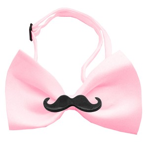 Black Moustache Light Pink Bow Tie