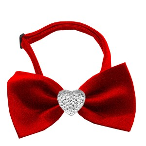 Clear Crystal Heart Red Bow Tie