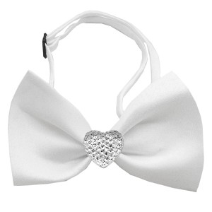 Clear Crystal Heart White Bow Tie