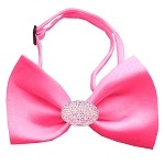 Light Pink Crystal Oval Hot Pink Bow Tie