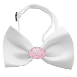Light Pink Crystal Oval White Bow Tie