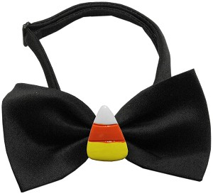 Candy Corn Chipper Black Pet Bow Tie