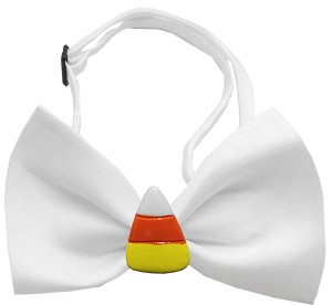 Candy Corn Chipper White Pet Bow Tie
