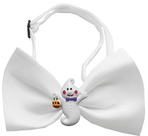 Ghost Chipper White Pet Bow Tie