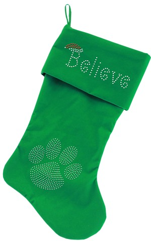 Believe Rhinestone 18 inch Velvet Christmas Stocking Green