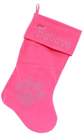 Believe Rhinestone 18 inch Velvet Christmas Stocking Pink
