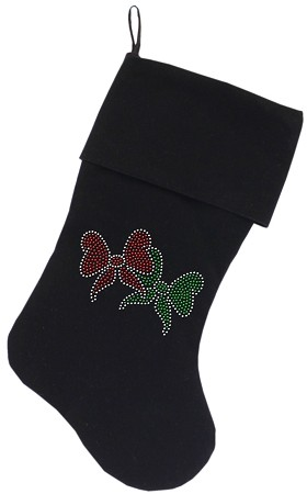 Christmas Bows Rhinestone 18 Inch Velvet Christmas Stocking Black