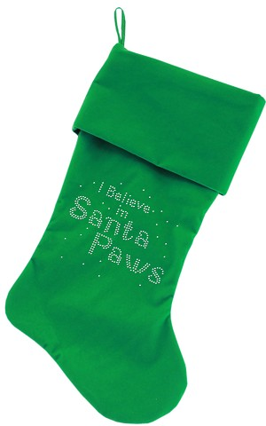 Santa Paws Rhinestone 18 Inch Velvet Christmas Stocking Green
