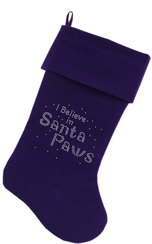 Santa Paws Rhinestone 18 Inch Velvet Christmas Stocking Purple