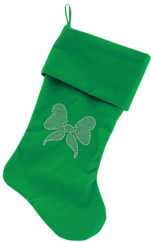 Clear Bow Rhinestone 18 inch Velvet Christmas Stocking Green