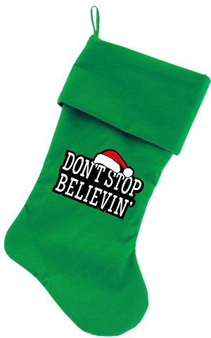 Don't Stop Believin Screen Print 18 inch Velvet Christmas Stocking Green