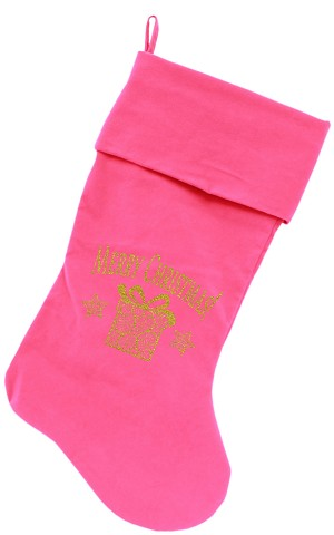 Golden Christmas Present Screen Print 18 inch Velvet Christmas Stocking Pink