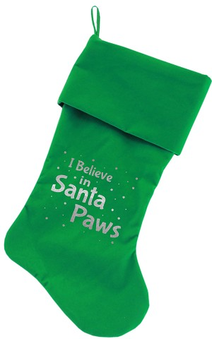 Santa Paws Screen Print 18 inch Velvet Christmas Stocking Green