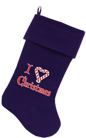 I Heart Christmas Screen Print 18 inch Velvet Christmas Stocking Purple
