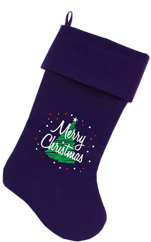 Scribbled Merry Christmas Screen Print 18 inch Velvet Christmas Stocking Purple