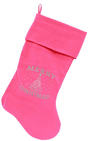 Shimmer Christmas Tree Screen Print 18 inch Velvet Christmas Stocking Pink